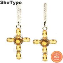 33x15mm Romantic 6.7g Cross Shape Created Golden Citrine Natural CZ Gift For Ladies 925 Solid Sterling Silver Earrings