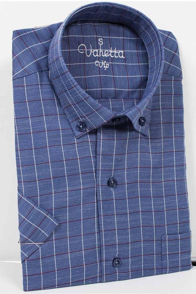 Varetta männer Shirt Sommer Baumwolle Leinen shirts für männer Dunkelblau Hemd Regelmäßige Casual shirts Plaid Kurzarm männer hemd türkei