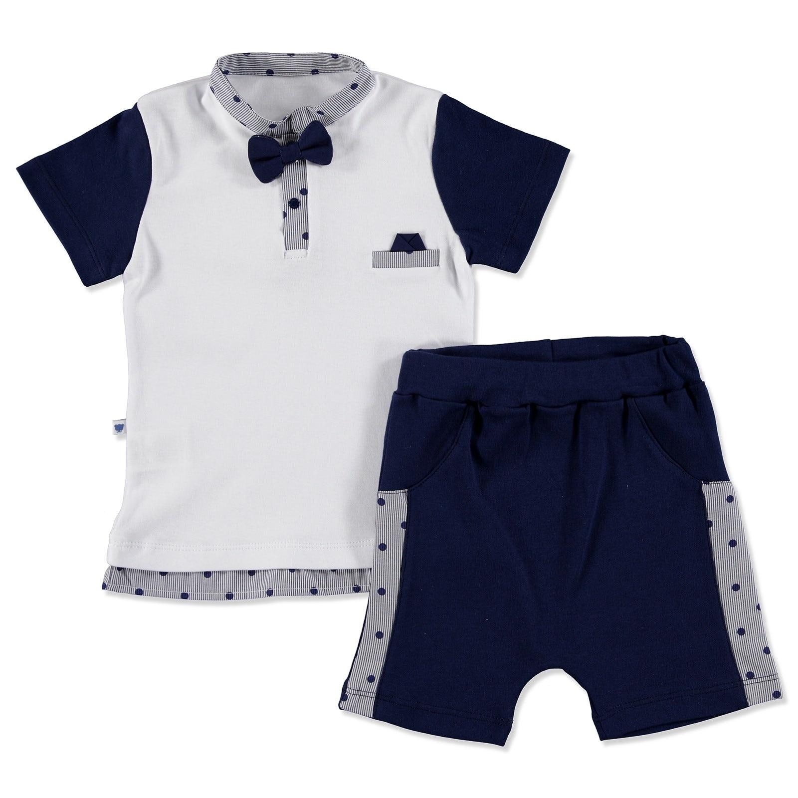 Ebebek Mymio Summer Baby Boy Cute Bear Poplin Short Sleeve Snaps Neck T-shirt 2 Pcs Set
