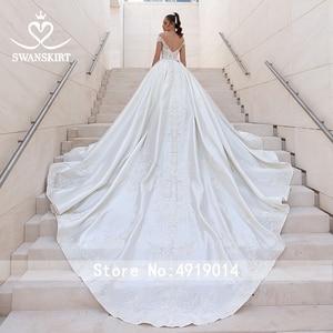 Image 2 - Luxury Beaded Princess Wedding Dress 2020 Sweetheart Crystal Appliques Satin Ball Gown Bridal Swanskirt F306 Vestido de noiva