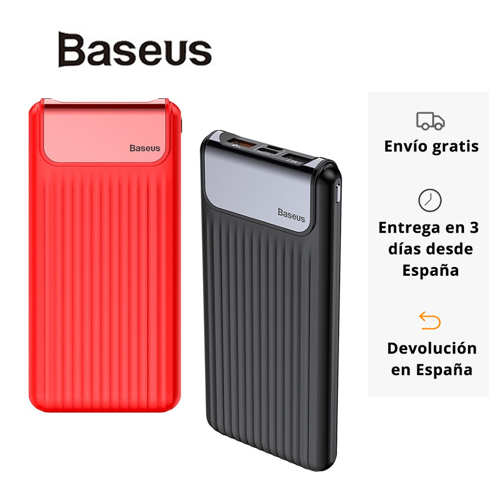 <font><b>Baseus</b></font> portable 3.0 fast charge power bank large capacity 10000 mAh with Digital display and dual input and output image