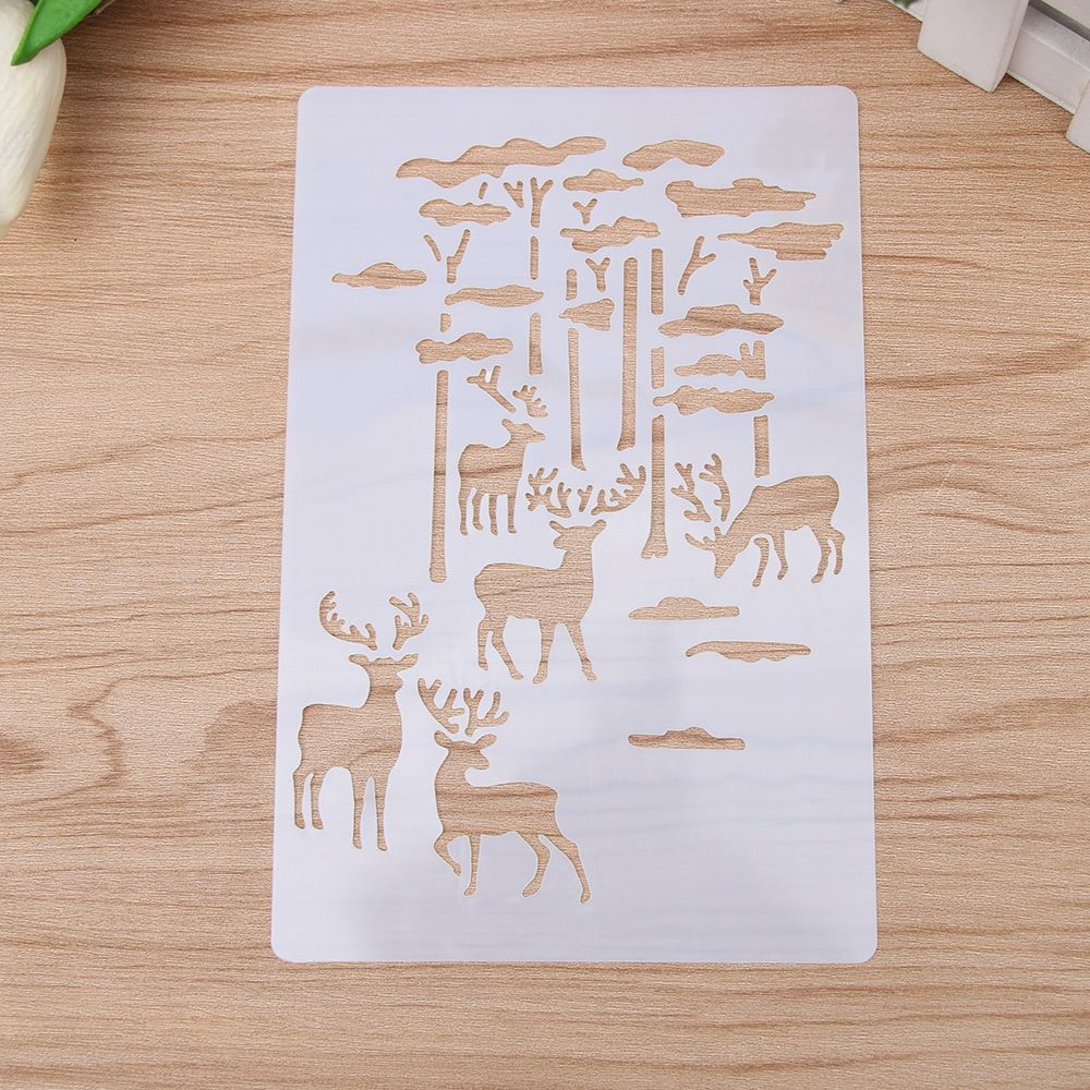 1Pcs Forest Elk Reusable Stencil Airbrush Painting Art Cake Spray Mold DIY Decor Crafts Drawing Painting Templates