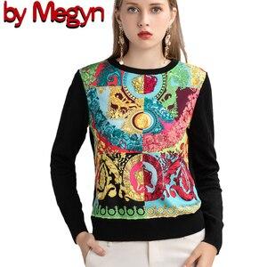 Image 1 - ถักผู้หญิงแฟชั่นผู้หญิงแขนยาว Elegant Floral พิมพ์เสื้อสบายๆสุภาพสตรีเสื้อขนสัตว์ด้านบนสไตล์หวานเสื้อกันหนาว
