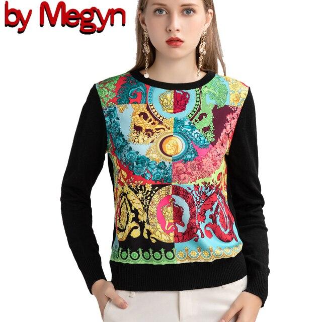 ถักผู้หญิงแฟชั่นผู้หญิงแขนยาว Elegant Floral พิมพ์เสื้อสบายๆสุภาพสตรีเสื้อขนสัตว์ด้านบนสไตล์หวานเสื้อกันหนาว