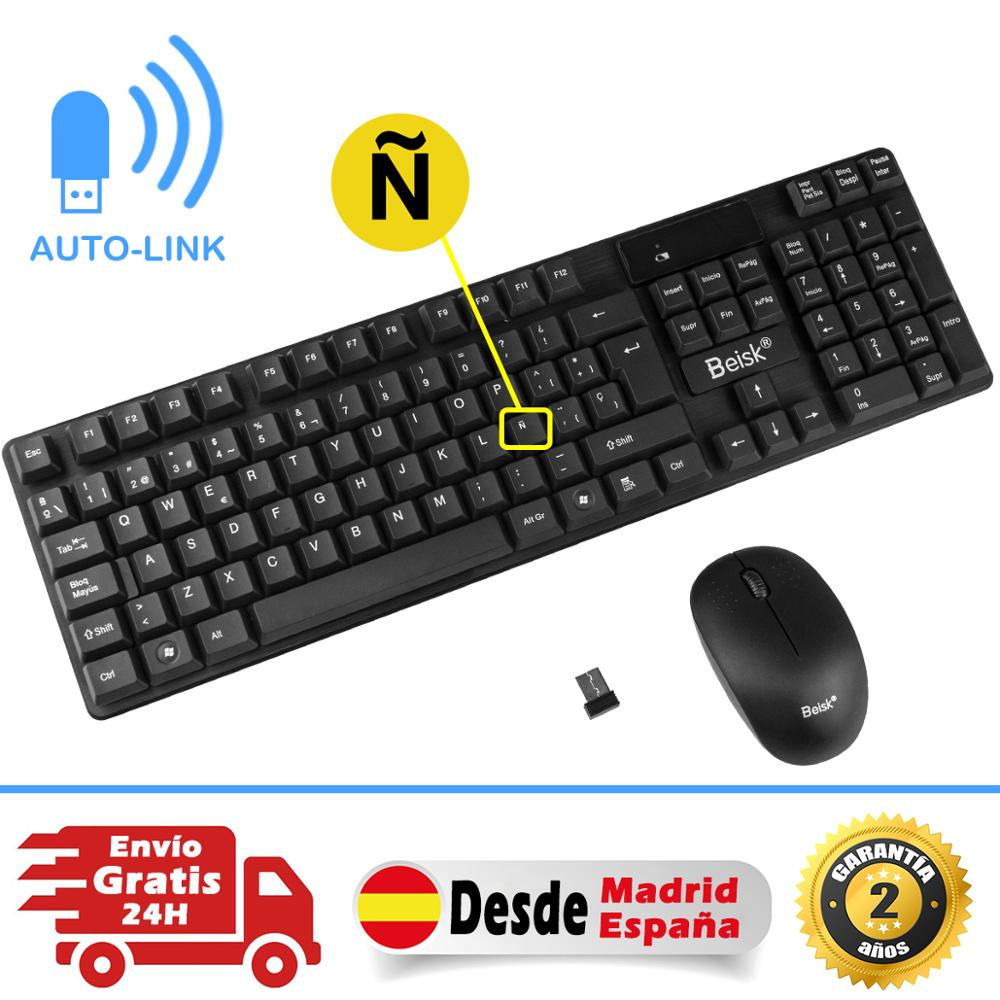 BEISK Pack Teclado Wireless Plus Bluetooth Mouse, Sensitivity Mechanics For PC, Mac, Windows, Etc.