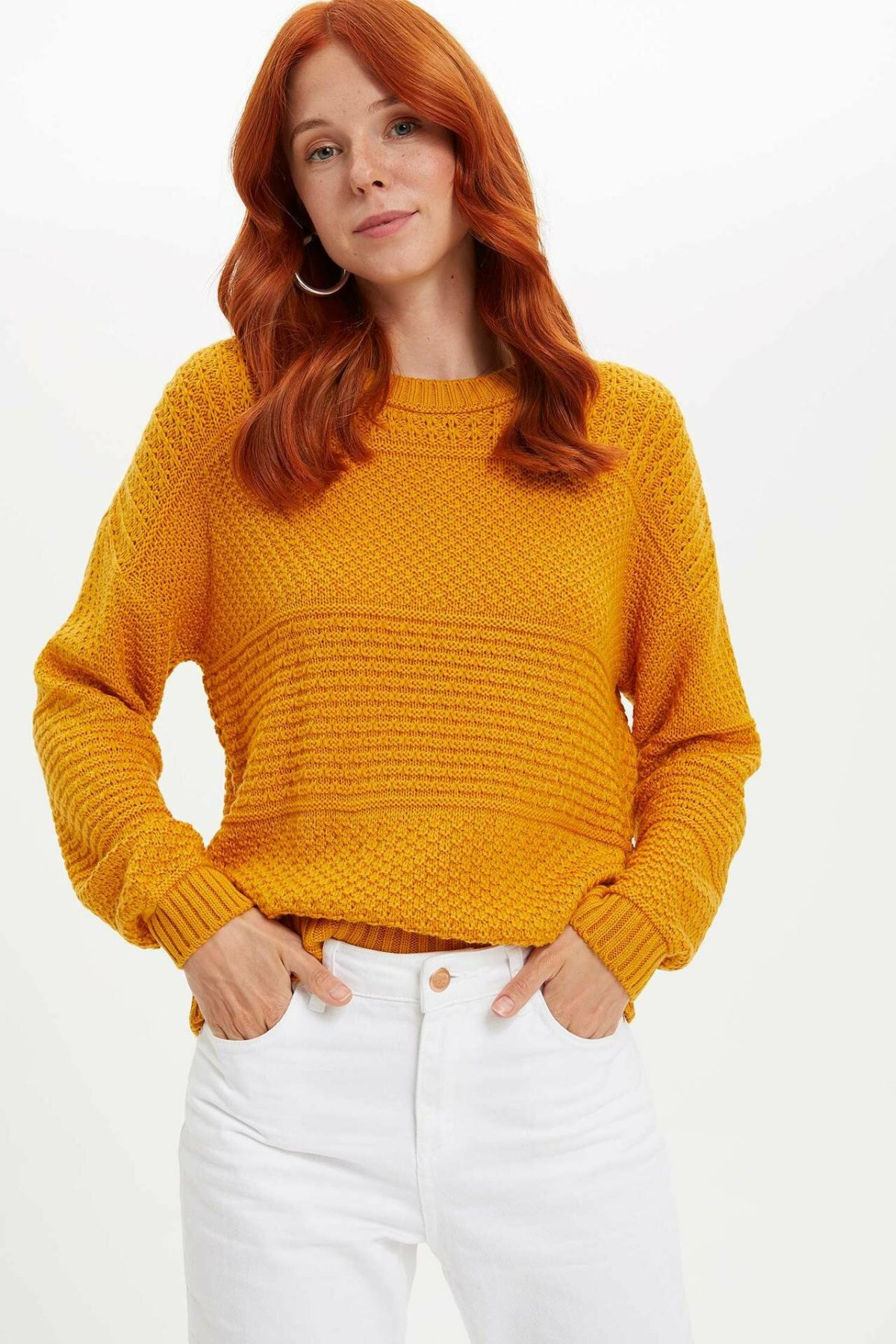 DeFacto Women Casual Crew Knitted Sweater Pure Color Sweater Joker Knitted Pullover Simple Women-L1565AZ19WN