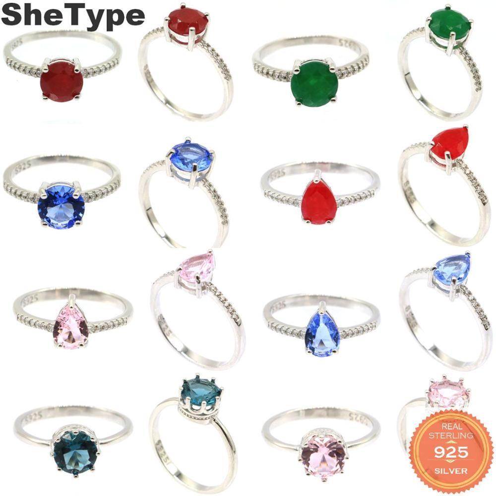 8x8mm 2019 Simple Style 2.0g Real Red Ruby Emerald Created Tanzanite Kunzite CZ Gift For Girls 925 Solid Sterling Silver Rings