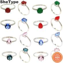 8x8mm 2019 Simple Style 2.0g Real Red Ruby Emerald Created Tanzanite Kunzite CZ Gift For Girls 925 Solid Sterling Silver Rings(China)