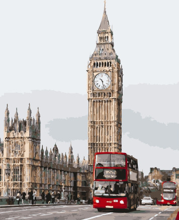 Painting By Numbers PK 38038 London Red Buses 40*50