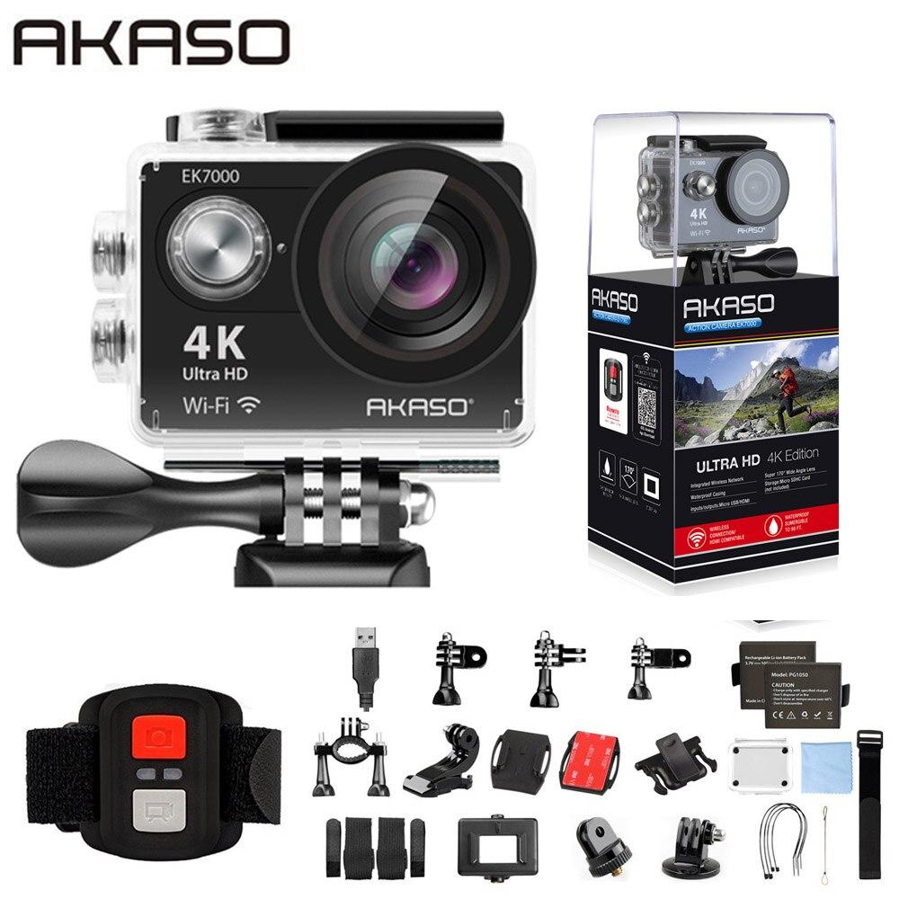 Экшн-камера AKASO EK7000, Wi-Fi, 4K, Ultra HD, водонепроницаемая, DV, видеокамера 12 МП, Спортивная камера с углом обзора 170 градусов, оригинал