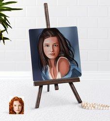 Personalized Women 'S Artistic Portrait Design Şovaleli Natural Taş-10