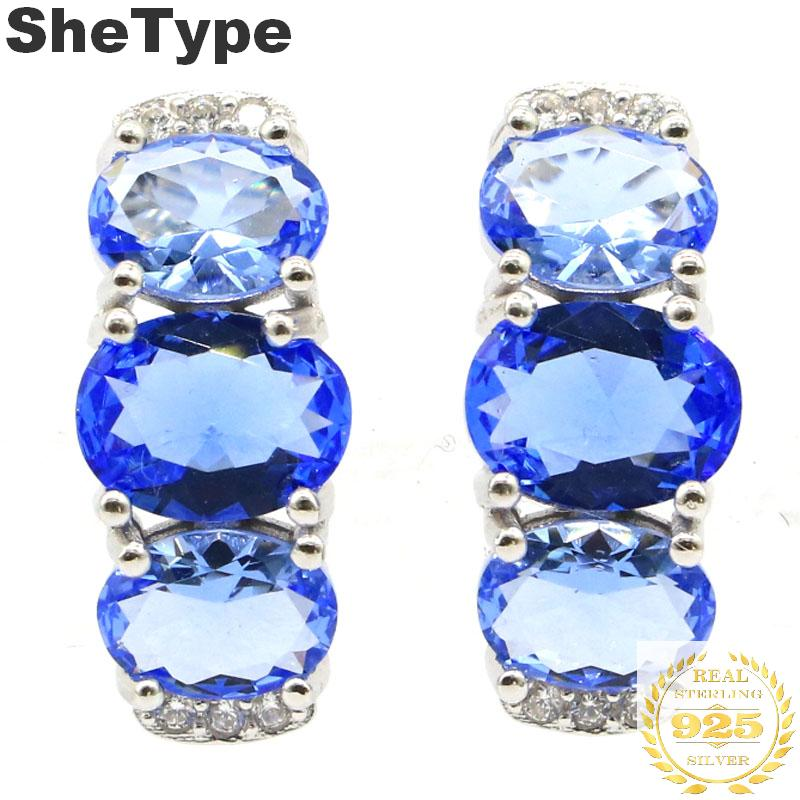 14x8mm 2019 New Arrival 3.5g Created Violet Tanzanite CZ Gift For Sister European Style 925 Solid Sterling Silver Stud Earrings