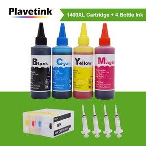Image 1 - Plavetink kit de recharge dencre PGI 1400XL, cartouche dencre, 4 × 100ml, bouteille, Compatible avec Canon PGI 1400 et MAXIFY MB2040 MB2140