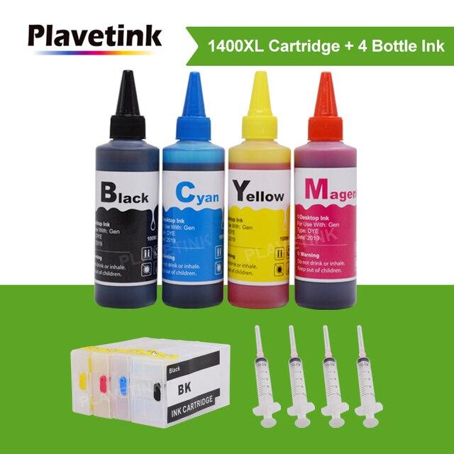 Plavetink kit de recharge dencre PGI 1400XL, cartouche dencre, 4 × 100ml, bouteille, Compatible avec Canon PGI 1400 et MAXIFY MB2040 MB2140