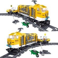 Juego de bloques de construcción de tren de la ciudad para niños, Kit de construcción de tren de mantenimiento de la ciudad, función de potencia, Motor, conjunto de vías, compatible con CREATOR EXPERT