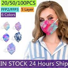 Masque Anti-poussière à 5 couches pour adultes, 20 à 100 pièces, KN95 FFP2, respirateur, ffp3