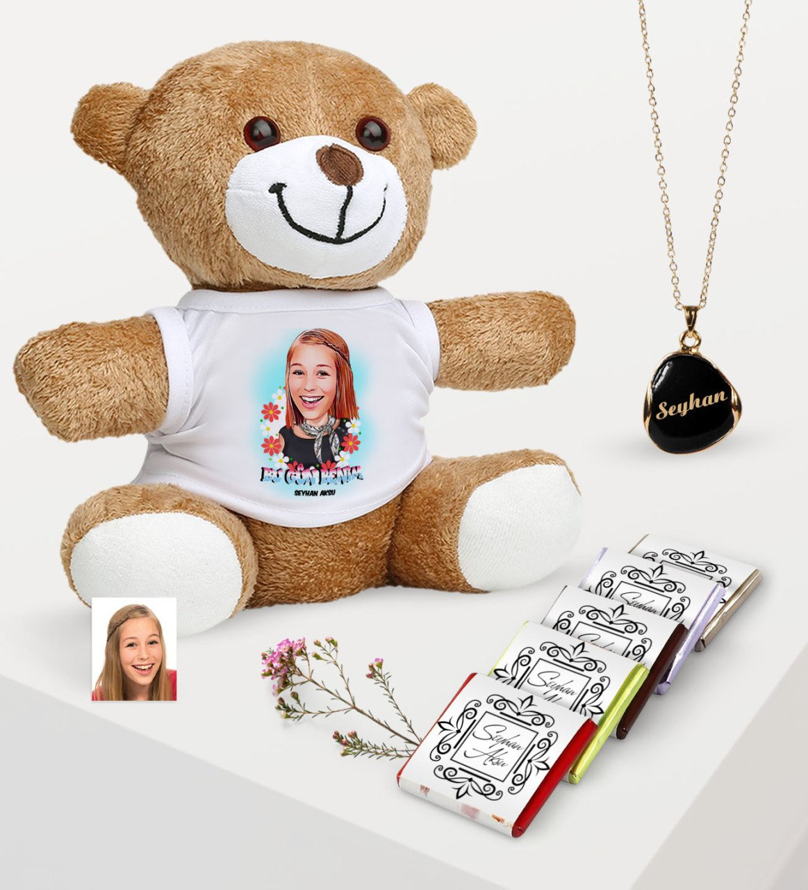 Personalized Caricature Of Plush Teddy Bear Enamel necklace And Chocolate Gift set 7|Christian Cards & Pictures| |  - title=