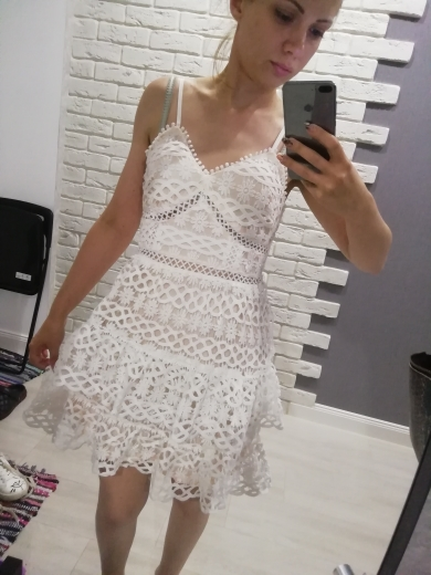 Women White Lace Dress Party Spaghetti Strap Embroidery Ruffle Sexy Dress V Neck Hollow Out Summer Dresses Ladies photo review