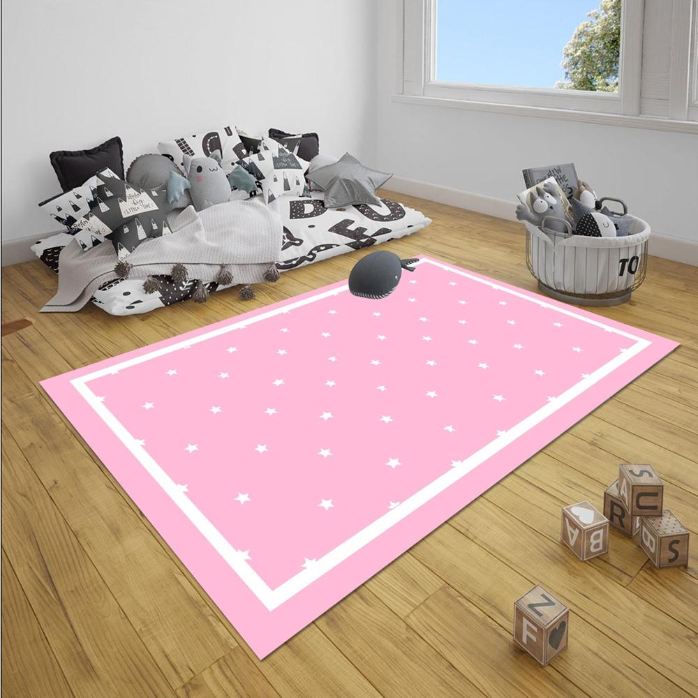 Else Pink White Stars Girl 3d Print Non Slip Microfiber Children Baby Kids Room Decorative Area Rug Mat