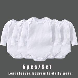 Longsleeve bebê bodysuits dailywear branco básico wear 5 peças conjunto essencial roupas para bebê