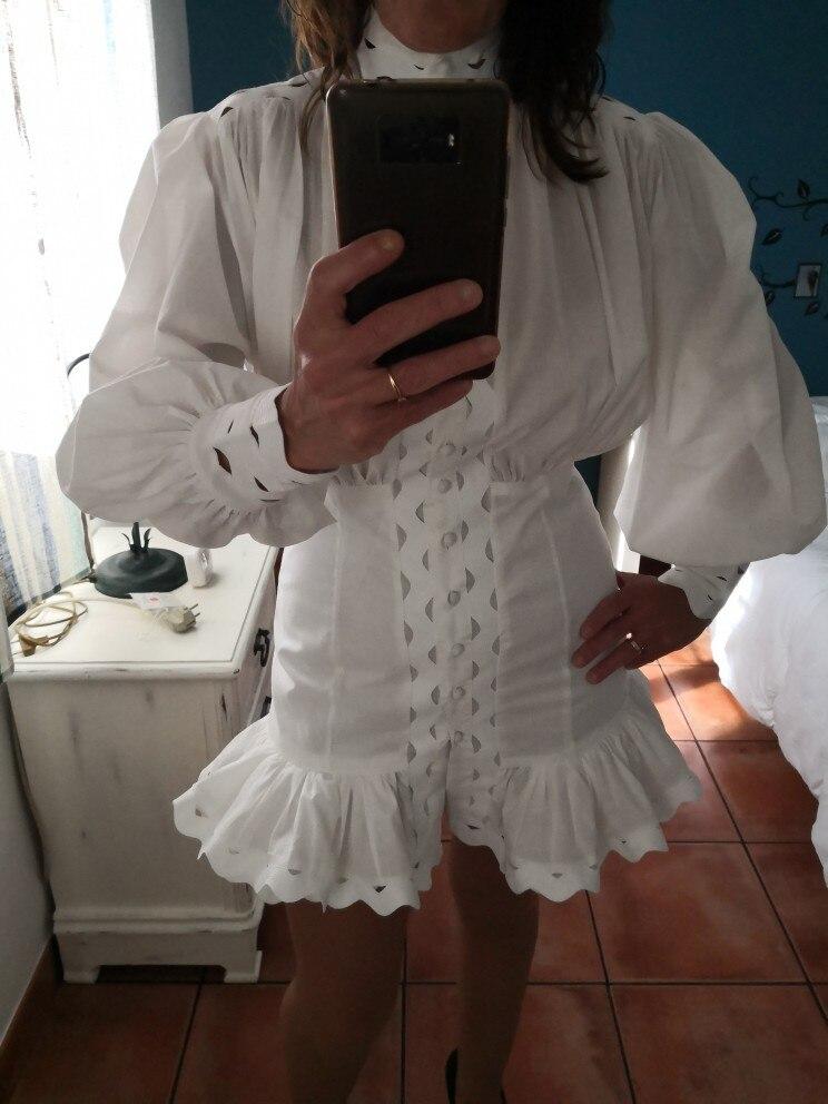 Bodycon Dress Female Lantern Long Sleeve High Waist Hollow Out Ruffle Hem Shirt Dresses Women Autumn Fashion photo review