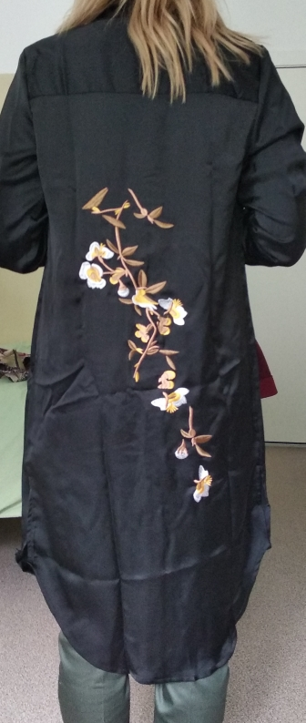 Haoduoyi Women Summer Floral Embroidery Split Shirt Dress Casual Button Down Vestido Long Vintage Evening Party Dress photo review