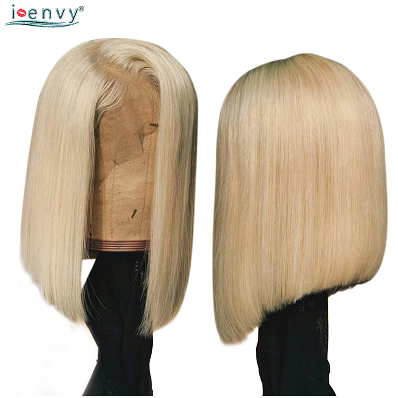 13X4 Lace Front Human Hair Wigs For Black Women Straight Blonde 613 Short Bob Wigs Peruvian Hair Lace Wigs Pre Plucked Non Remy in Lace Front Wigs from Hair Extensions Wigs