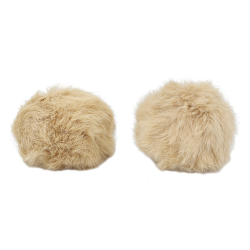 Pompon Made Of Natural Fur (rabbit), D-10cm, 2 Pcs/pack (C St. Beige)