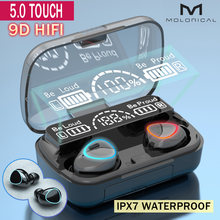 Tws bluetooth sem fio fone de ouvido hd display led fones de ouvido à prova dwaterproof água com microfone duplo baixo estéreo jogos