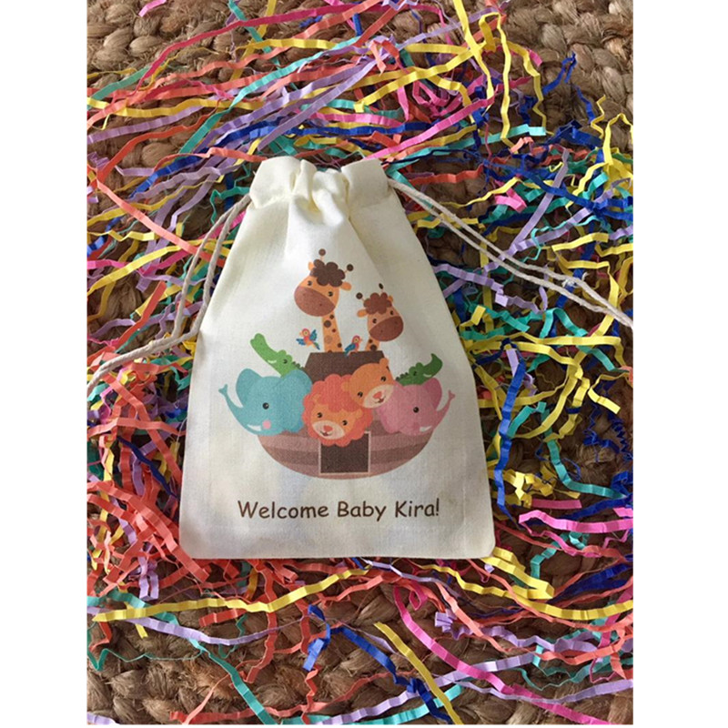 Baby Shower Favor Bag Personalized Birthday Gift Bags Animal Theme Party Bag Baptism Drawstring Bags Muslin Welcome Treat Bag