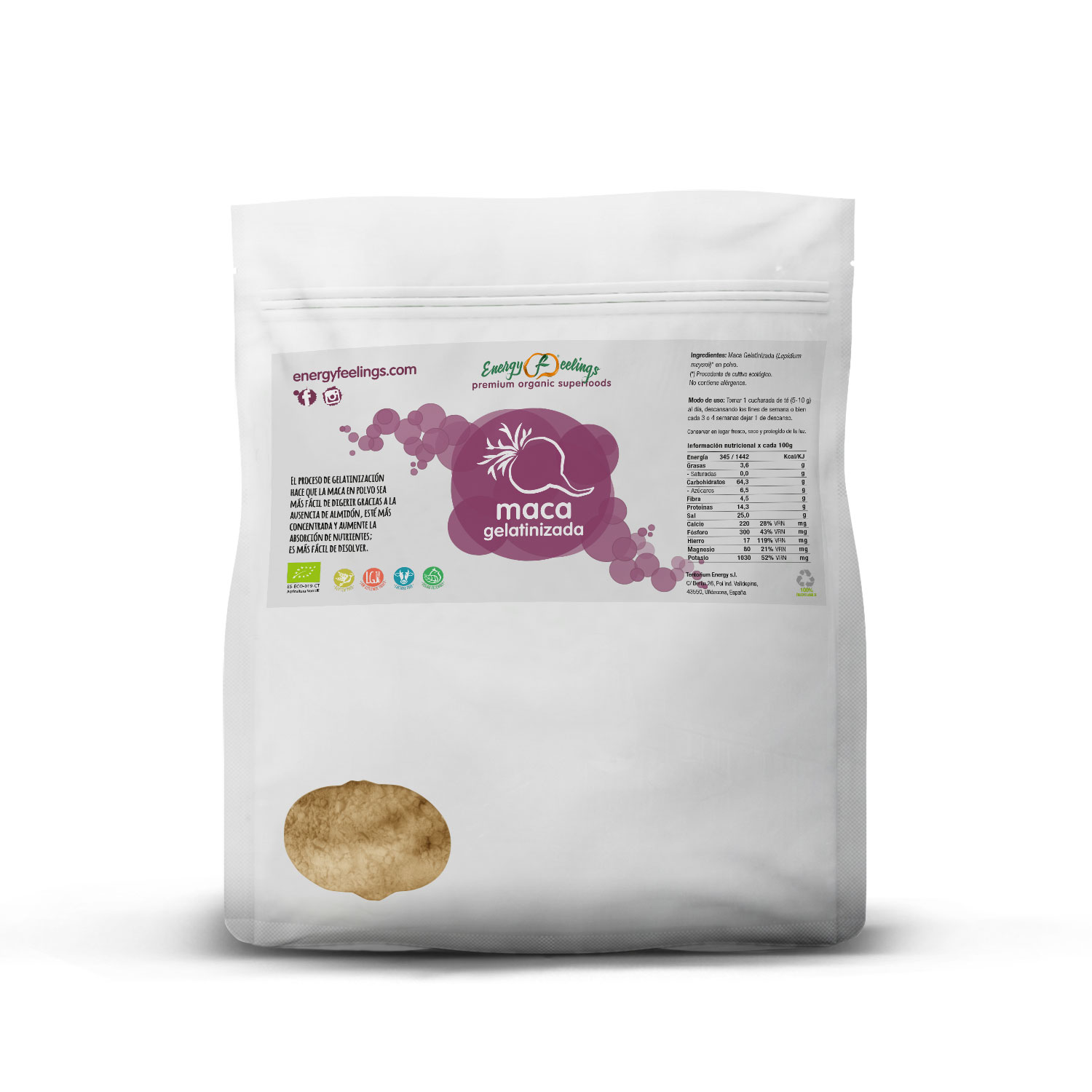 Energy Feelings, MACA gelatinized organic powder, 500 g