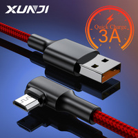 XUNJI cavo Micro USB 3A cavo di ricarica rapida cavo 1.2M 2M per Xiaomi Redmi Realmi Micro USB carica cellulare