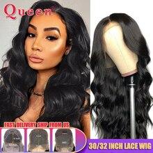 Peruca de cabelo humano frontal, ondulado 30 32 Polegada corpo ondulado 360 hd tela frontal perucas de cabelo rainha das mulheres negras