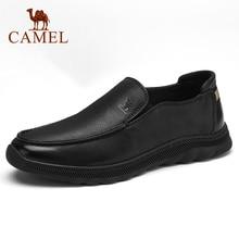 Sapatos Novos Outono dos homens do CAMELO Negócio Retro Matte Couro Genuíno Sapatos Casuais Homens Navegam Soft sola sapatos de Couro Calçado
