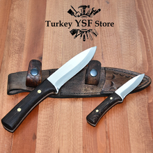 2 Pcs Handmade Bushcraft Knife Set Self Defense Knives Outdoor Tools Survival Sharp Knife With Wenge Handle Fixed Tactical Knife
