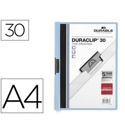 WALLET DURACLIP DOSSIER LATERAL CLAMP BLUE CAPACITY 30 SHEETS