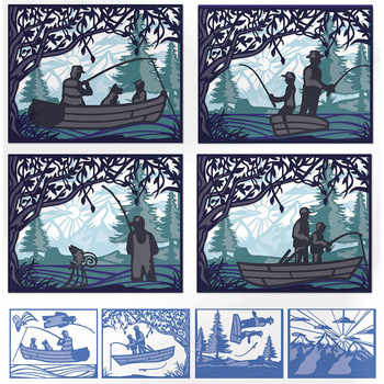 11pcs/set Layered Fishing Father Son Frame Metal Cutting Dies Stencils For DIY Scrapbooking Decoration Embossing Cards Craft2020