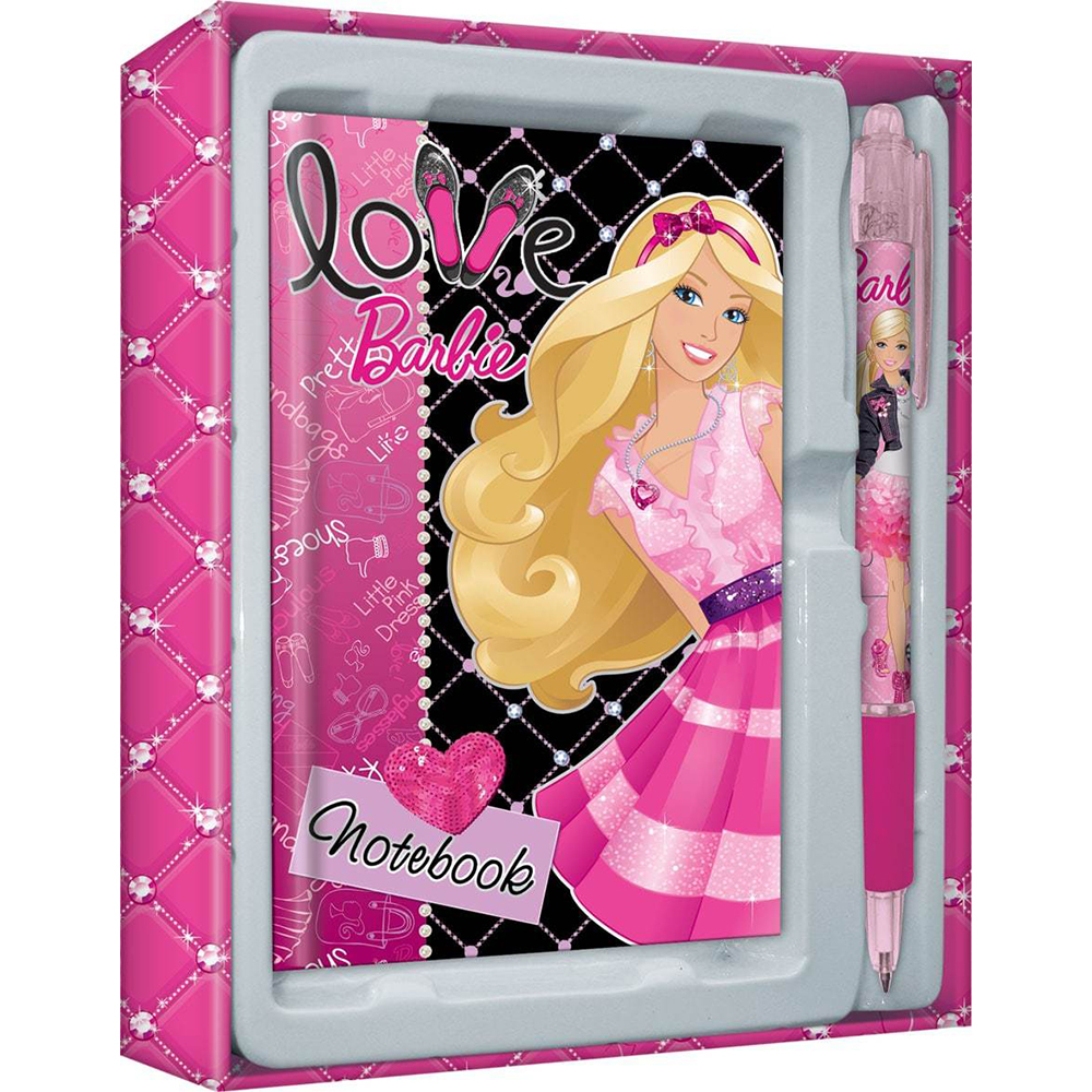 Set stationery Academy Of Groups Of Barbie in Gift Box: notebook, pen цена