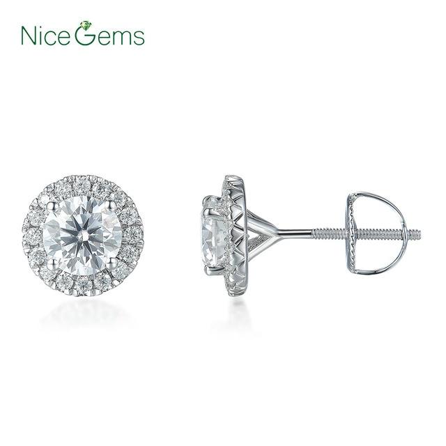 NiceGems 14K 585 beyaz altın 1.6CTW yuvarlak Moissanite Halo elmas top küpeler vida geri ile D E renk VVS1 kadın için hediye