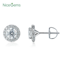 NiceGems 14K 585 or blanc 1.6CTW rond Moissanite Halo diamant boucles doreilles avec vis arrière D E couleur VVS1 pour femme cadeau