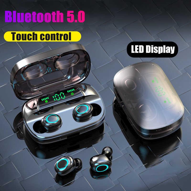 Kontrol Sentuh Bluetooth 5.0 Earphone Nirkabel Headphone 9D Stereo Headset 3500M Ah Pengisian Case LED Display Cocok untuk Semua Smartphone