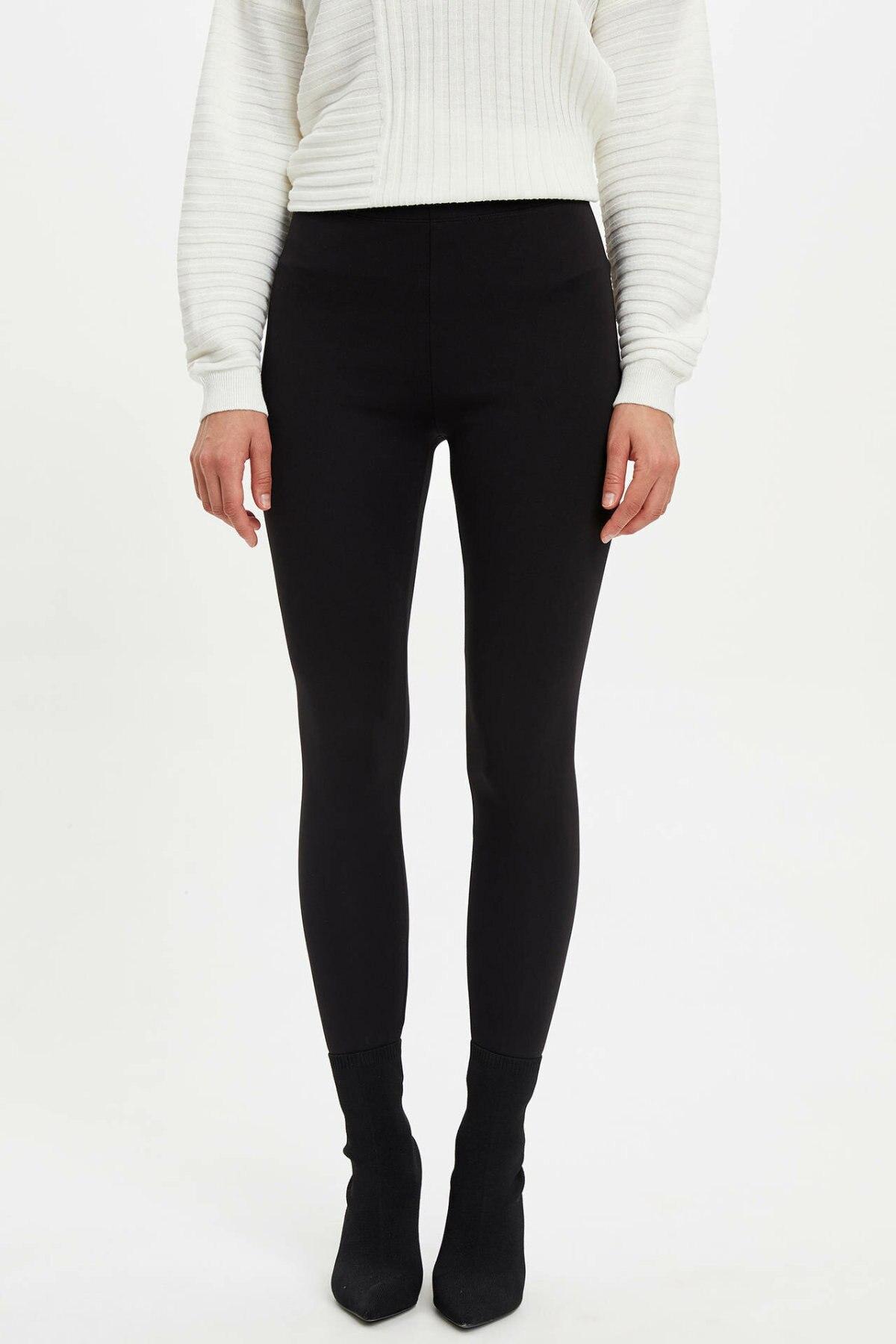 DeFacto Women Fashion High Waist Casual Women's Skinny Trousers Ladies Solid Sport Leggings Leisure Pants - M4561AZ19WN