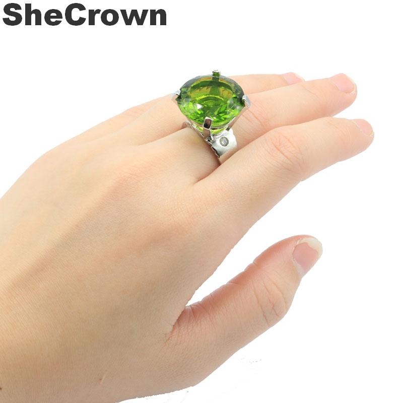 20x20mm Luxury Big 12g Created Round Shape Green Peridot Natural CZ Gift For Woman's Jewelry Making Silver Rings