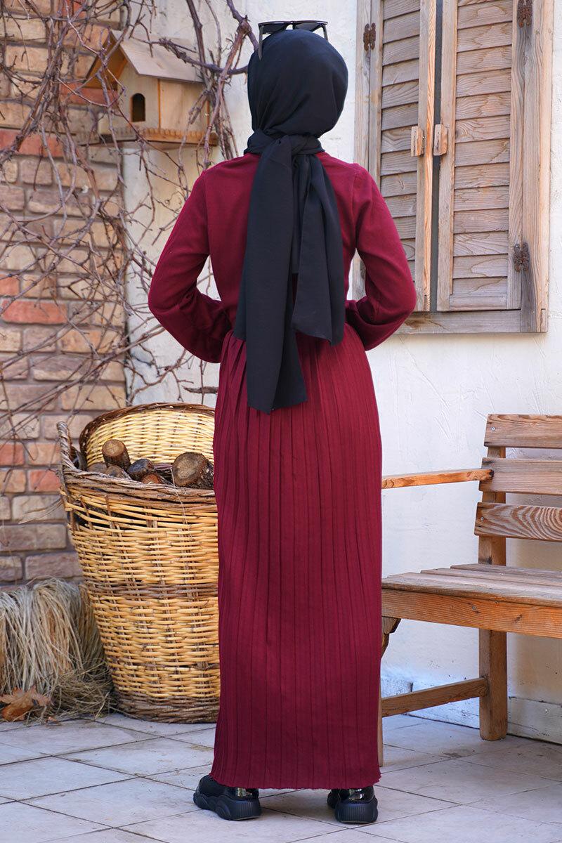 kemerli-model-etegi-piliseli-bordo-triko-elbise-triko-elbise-hbs-210441-45-B
