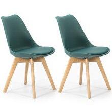 VS Venta-Stock Pack de 2 sillas Klara, Pata Madera y Asiento Acolchado, Estilo nórdico, disponible en gran variedad de colores.