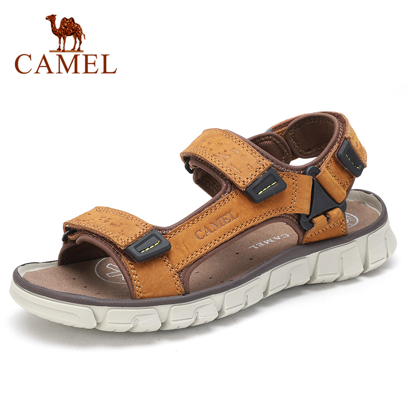 CAMEL Summer New Fashion Men's Sandals Beach Shoes Outdoor Sandals Lightweight Genuine Leather Non-slip Velcro Men Shoes