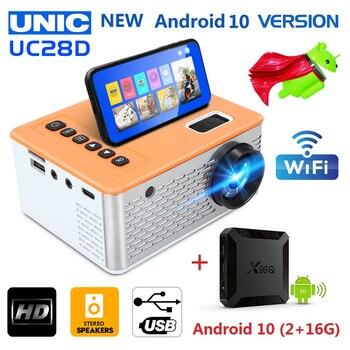 Unic uc28d mini projetor led 500 lumens 480*272 resolução física suporte 1080p hd 5v 2a filme mesma tela com telefone móvel