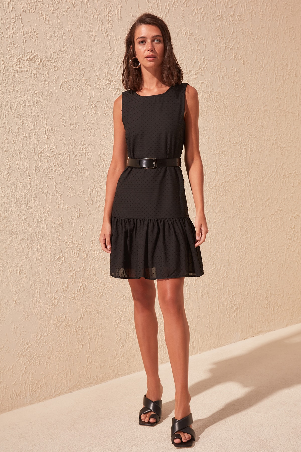 Trendyol Arched Textured Fabric Dress TWOSS20EL1555