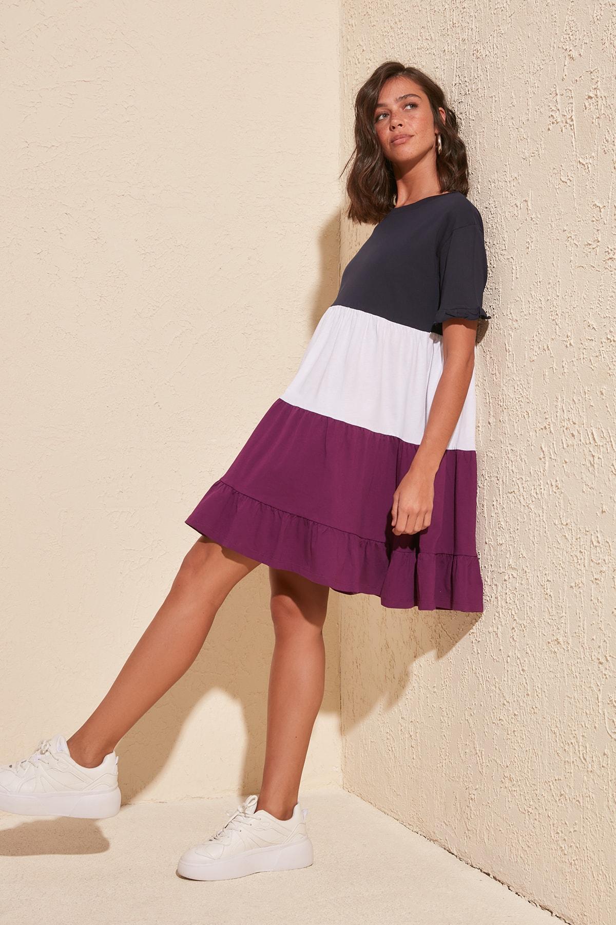 Trendyol With Color Block Knit Dress TWOSS20EL1638