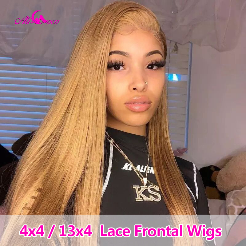 Ali Coco 180% Density 4x4/13x4 Brazilian Straight Human Hair Wigs Honey Blonde/1B 99j Human Hair Lace Frontal Wigs Pre Plucked